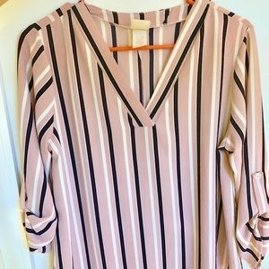 Pink/Navy Striped Blouse